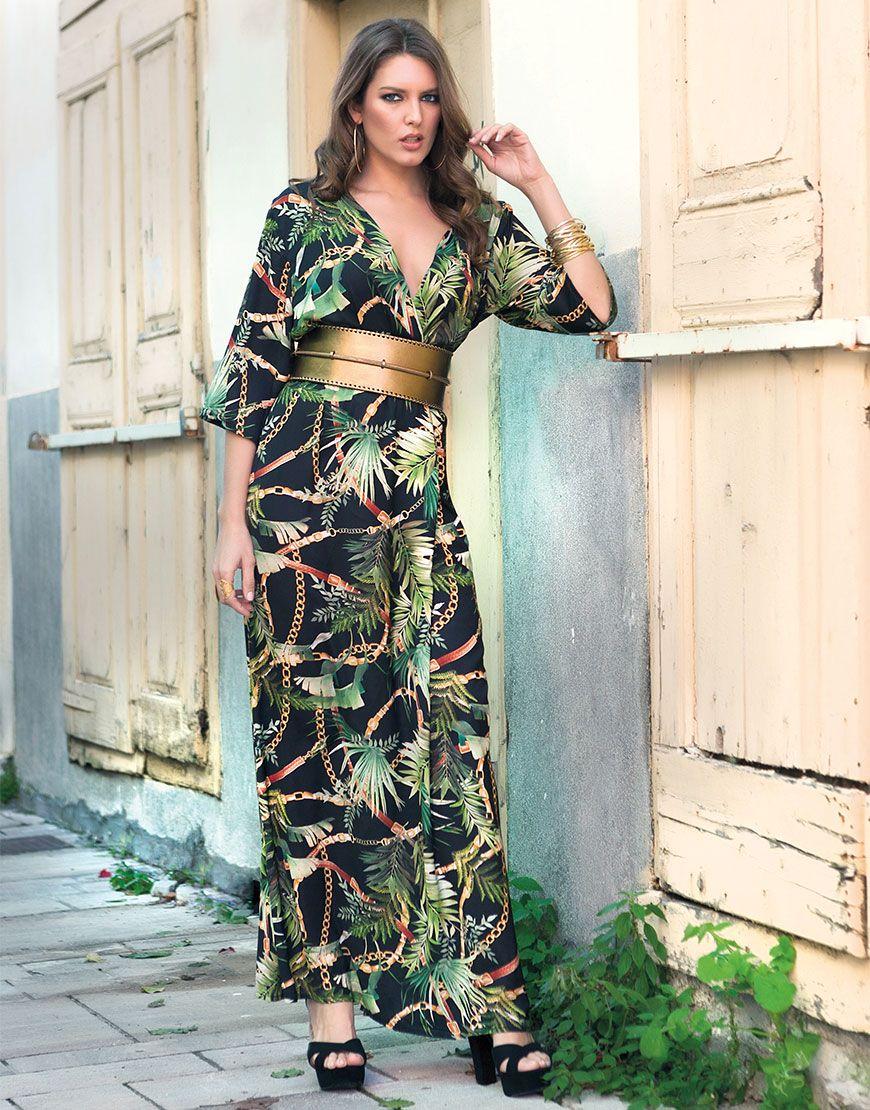 45a00d06c47 Φόρεμα Maxi Κρουαζέ Φτέρες Αλυσίδες