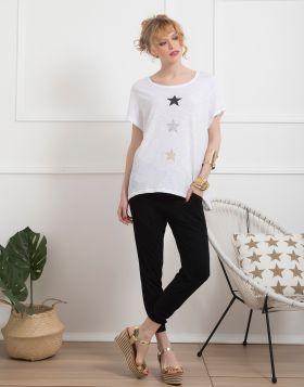 Μπλούζα με αστέρια glitter 155-19-Λευκό
