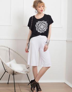 Μπλούζα με θυρεό τύπωμα 175-19-Λευκό-L