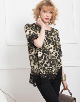 Μπλούζα leopard animal print με δανδέλα