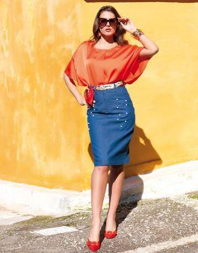 Φούστα jean με πέρλες 500-19-Μπλε-L