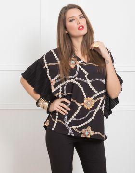 Μπλούζα με αλυσίδες πέρλες και πλισέ πλάτη