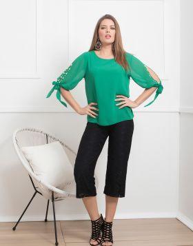 Μπλούζα με πέρλες στα μανίκια 760-19-Πράσινο-L