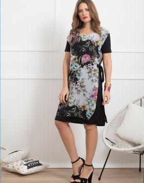 Φόρεμα midi με μουσελίνα φλοράλ 900-19-XL