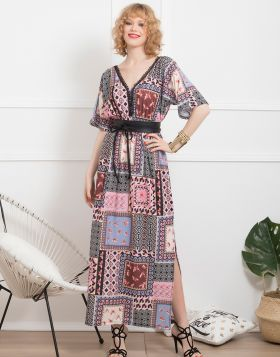 Φόρεμα Maxi Patchwork Πεταλούδες