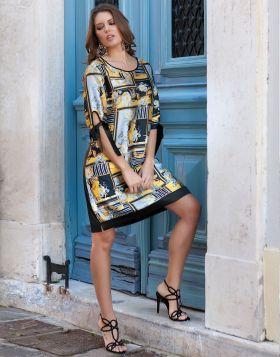 Σατέν Midi Φόρεμα με Φλοράλ Patchwork 945-19-XL
