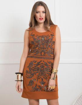 Φόρεμα αμάνικο  Midi με τύπωμα 950-19-Μαύρο-L