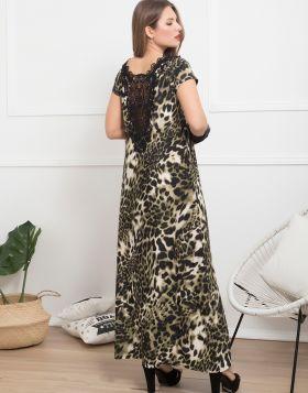 Φόρεμα Maxi Leopard 965-19-Χακί-L