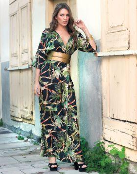 Φόρεμα Maxi Κρουαζέ Φτέρες Αλυσίδες