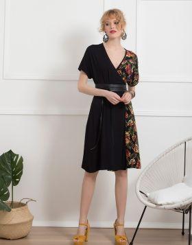 Φόρεμα κρουαζέ μισό φτέρες 996-19-Μαύρο-L