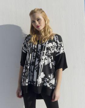 Μπλούζα με ψηφιακό τύπωμα φλοράλ με γραμμές
